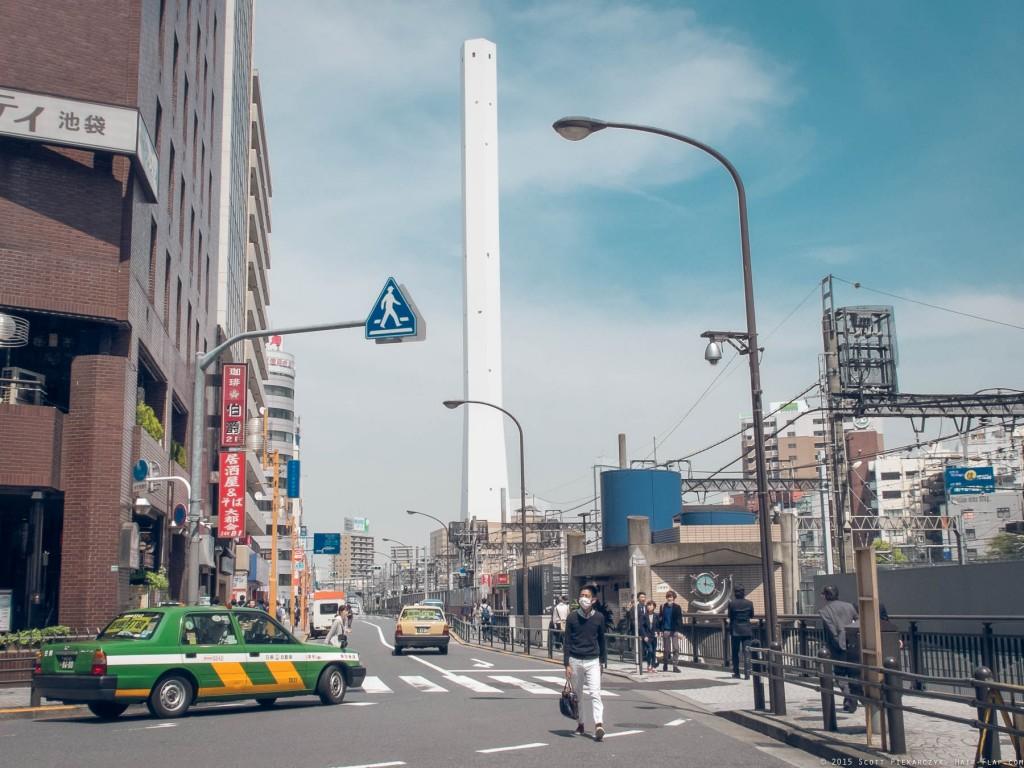 The Toshima Garbage Incinerator chimney, seen from near Ikebukuro Station.