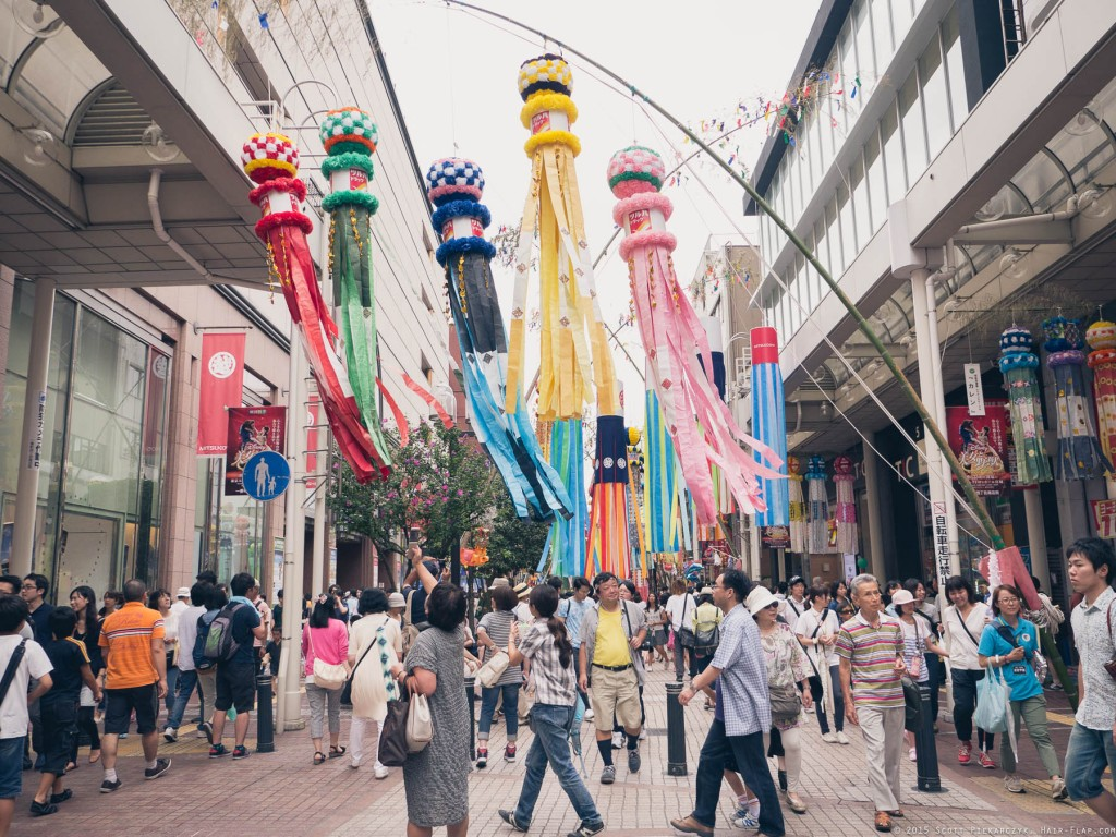 The central decoration of Tanabata Festival, paper streamers called 'Fukinagashi'.