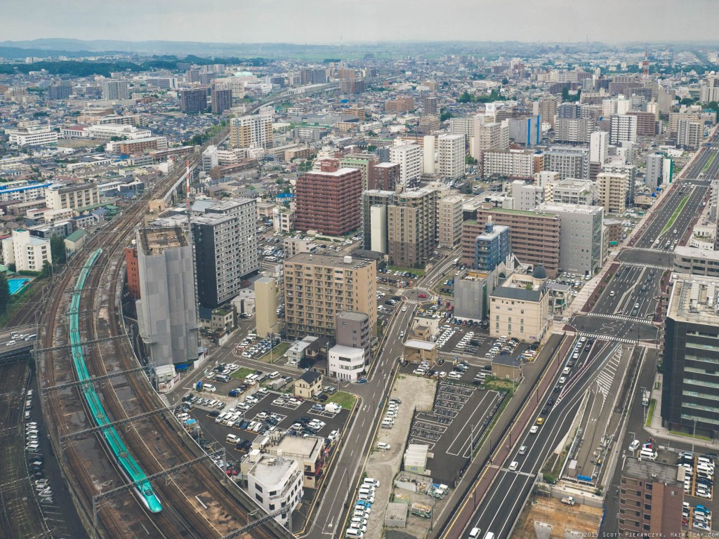 View from AER Building Observation Deck in downtown Sendai.